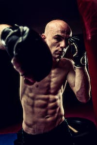 ripped body with boxing